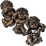 3 Deko Engel nichts 'sehen hören sprechen' aus Steinharz im Bronze Design 15,5 cm