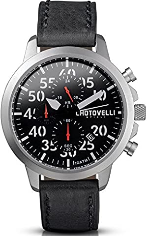 Chotovelli Aviator Men's Watch black dial Chronograph display Black leather Strap 33.11