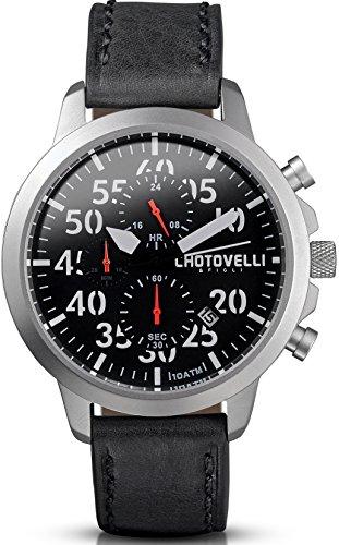 Chotovelli - Herren Pilotenuhr - Chronograph - Schwarzes Leder armband 33.11