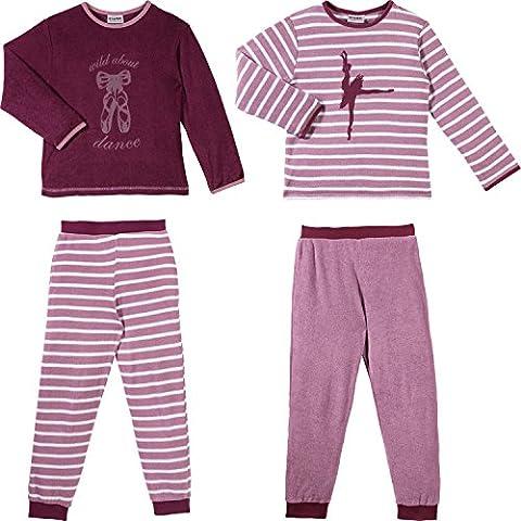 Kinderbutt Schlafanzug 2er-Pack Frottee purpur Größe 98 / 104