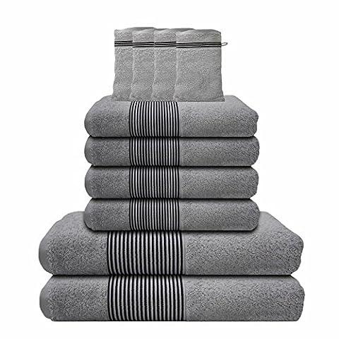 Liness-Stripes 10 tlg Handtuch-Set 4 Handtücher 50x100 cm 2 Duschtücher Badetücher 70x140 cm 4 Waschhandschuhe Waschlappen 16x21 cm 100% Baumwolle