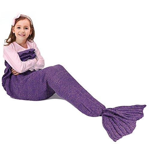 Barbie Vintage Kostüm Puppe (Meerjungfrau Schwanz Decke für Kinder, manuelle gehäkelte Decke, Jahreszeiten Warm, weiche Wohnzimmer, Schlafsack, bestes Geburtstagsgeschenk (Kinder Größe,)