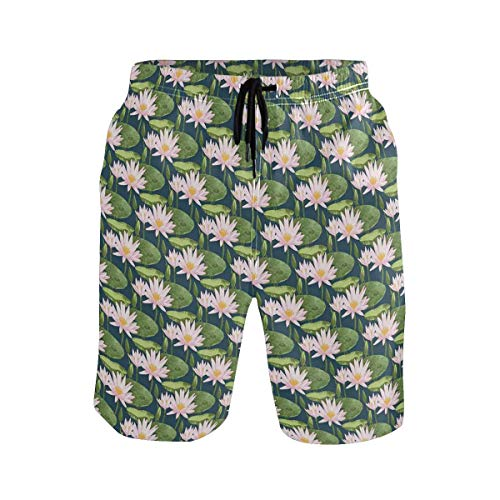 Men's Summer ShortsHand Drawn Style Retro Romantic Blossoms in Yellow Wh,Size:M -
