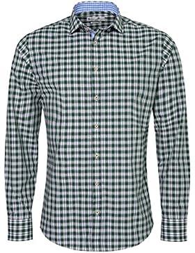 Gweih & Silk Trachtenhemd Body Fit Siggi Zweifarbig in Grün und Blau von