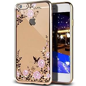 iPhone 7 Plus 5.5 Crystal Flower TPU Cover-Auroralove Shiny Fashion Transparent Soft Floral Butterfly Graden Case with Original Swarovski Element for iPhone 7 Plus (iphone 7 plus,Gold+Pink)