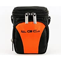 El TGC® Hot naranja y negro Deluxe Compact para el hombro bolsa de transporte para la videocámara Panasonic HX-A100