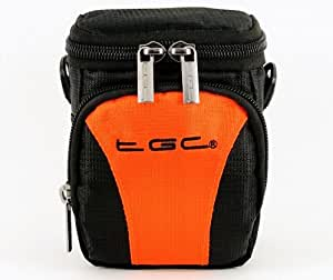 The TGC ® Hot Orange & Black Deluxe Compact Shoulder Carry Case Bag for the Panasonic HX-DC3 Camcorder