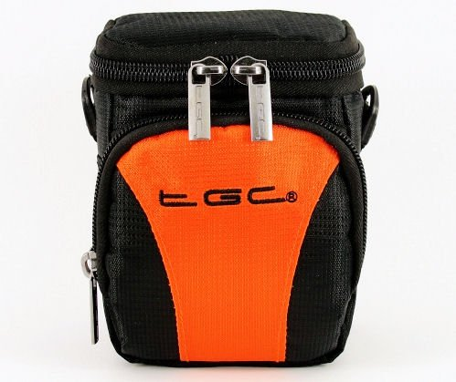 the TGC Sac Orange vif ® & Black Deluxe Sac de transport à porter à l'épaule pour le Panasonic DMC-G3 appareil photo