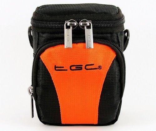 Der TGC Hot Orange & Schwarz Deluxe Compact Schulter Tragetasche für die Sanyo CG10Camcorder Cg10 Camcorder