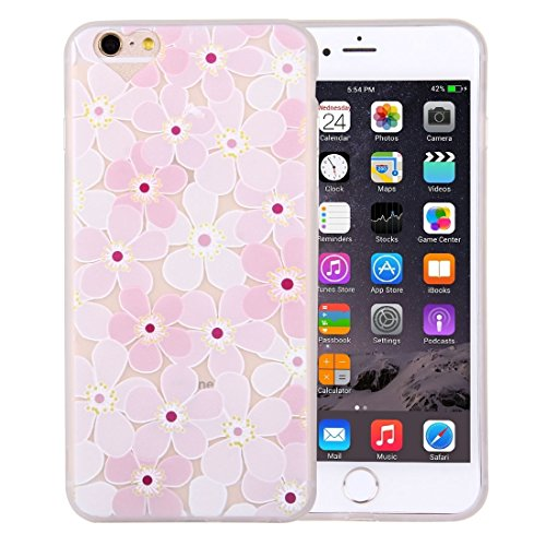 Phone case & Hülle Für iPhone 6 Plus / 6s Plus, Prägung Rosa und Weiß Blumenmuster Soft TPU Schutzhülle ( SKU : Ip6p0476a ) Ip6p0476a
