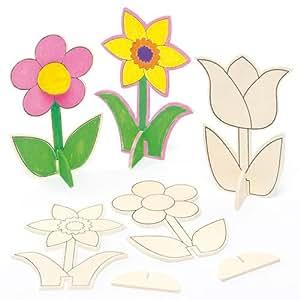 Mini-fiori in legno da decorare per la festa della mamma, per bambini (confezione da 6)