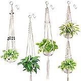 Xddias Makramee Blumenampel Baumwollseil Hängeampel, 4 Stück Blumentopf Pflanzen Halter Aufhänger Pflanzenhalter für Innen Außen Decken Balkone Wanddekoration