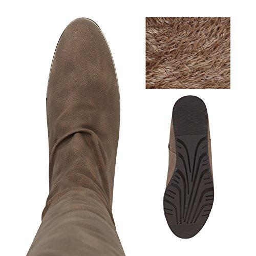 Stiefelparadies Damen Reiterstiefel Cowboystiefel Leder-Optik Gefütterte Stiefel Metallic Blockabsatz Schuhe Schnallen Lack Boots Fransen Flandell Khaki Avelar