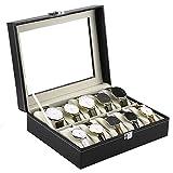#8: Kurtzy Watch Storage Box Display Case Organizer with Faux Leather Finish and Glass Window with 10 Slots 20x25x8 CM