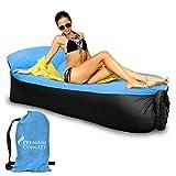 Premium tumbona inflable con almohada integrada–resistente al agua Air sofá tumbona para camping, playa, piscina, jardín, interior–Portátil, ligero, con bolsa de transporte, azul