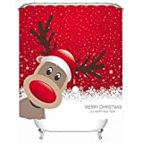 Heelinna Duschvorhang 1 STÜCK Cartoon Elch Druck Duschvorhang Weihnachten Polyester Wasserdicht Bad Vorhang Badezimmerzubehör (Größe : 180 * 180cm)