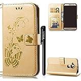 Huawei Nova Plus Hülle,BtDuck PU Leder Gold Schmetterling Ultra Slim Tasche Brieftasche Dünn Weich Tasche Magnetverschluss Kartenfach Weich Silikon Back Cover Handyhülle Huawei Nova Plus Gold