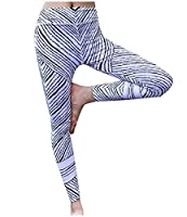 Witkeyseller Women Workout Striped Graphic Print Fitness Yoga Sport Pants As Picture S