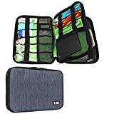 BUBM Waterproof Double Layer Travel Gear Organizer / Electronics Accessories Bag with Zipper Mesh Pockets and Elastic Loops (Two layers-Dark Blue)
