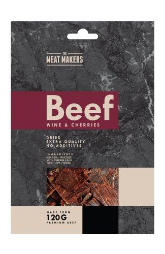 (Packung von 6) WINE & CHERRIES - GOURMET BEEF JERKY 40g - Wein und Kirschen getrocknetes Rindfleisch