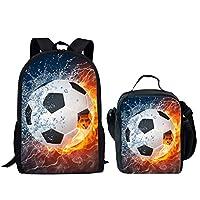HUGS IDEA 2 Piece Kids School Shoulder Bag Football Lightning Printing Backpack for Teen Boys with Lunch Bag
