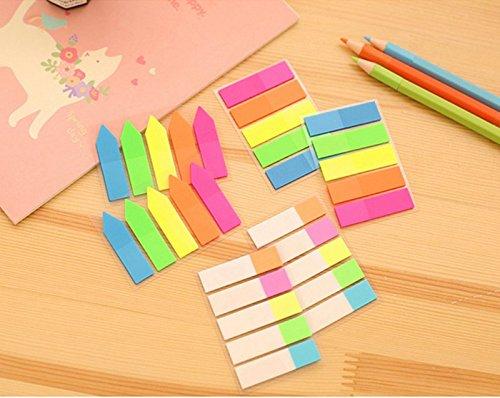 itemer 5piezas/set fluorescentes adhesivas nota índice banderas lengüetas adhesivas etiqueta para marcador de página, color A