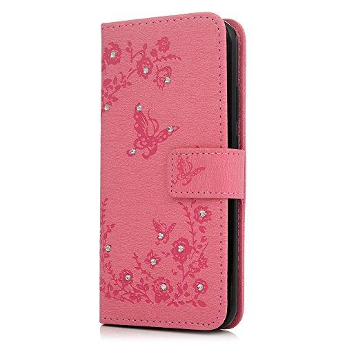 Tophung Huawei P20Lite, klar Bling Kristall Diamant Notebook mit Premium PU Leder Flip Wallet Case Embossed BUTERFLY mit Ständer Kartenhalter-Cover Schutzhülle Schale für Huawei P20Lite