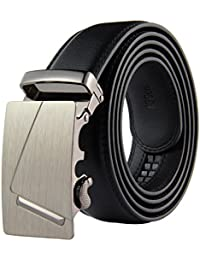 "niceeshop(TM) Men PU Leather Belt Automatic Buckle Ratchet Belts with 35mm Wide 1 3/8"" Metal Buckle"