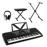 Anfänger Keyboard Set für Einsteiger und Fortgeschrittene 61 Tasten Home-Keboard mit Ständer, Keyboardbank und Hifi-Kopfhörer (Lernfuktion, Aufnahme, 100 Rhytmen und Intrumente, 12 Demo Songs) schwarz