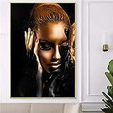 EBONP Quadro su Tela Pittura Decorativa Arte della Parete Decorazione per la casa Stampa su Tela Donna in Oro Nero Pittura Quadri Moderni Senza cornice-28x40inch
