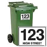 Lot de 4personnalisé Numéro de Poubelle Stickers avec Route Nom de Rue pour conteneurs de déchets A6Blanc Autocollant