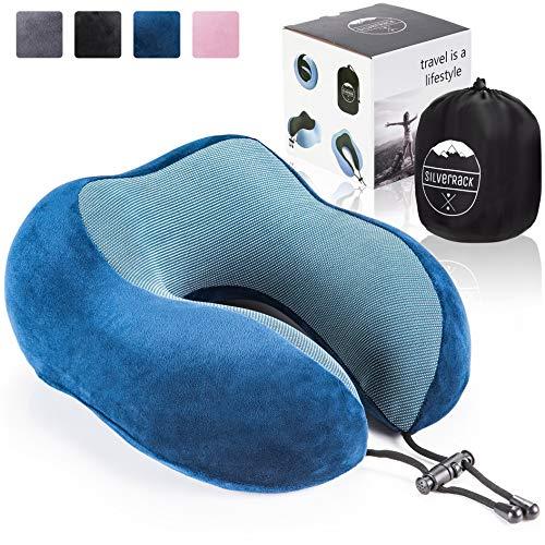 SilverRack Memory Foam Reise Nackenkissen (blau) als Nackenhörnchen - Flugzeug Kissen für erholsames und entspanntes Reisen - Praktisches Travel Pillow Reisekissen für Kinder und Erwachsene
