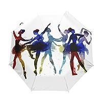 Naanle Ballerina Dancing Watercolor Auto Open Close Foldable Windproof Travel Umbrella