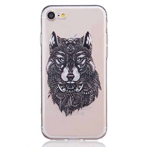 iGrelem® Cover per iPhone 7, con protezione per lo schermo in vetro temperato, Ultra sottile, trasparente, morbida, in TPU, per Apple iPhone 7da 4,7, motivo a scelta con fiori, farfalle, piume color Wolf, Black