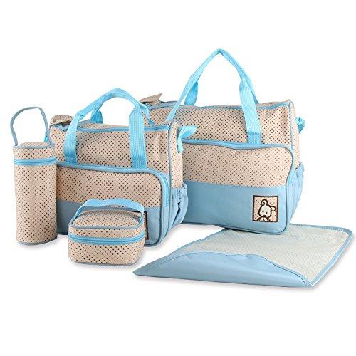 URAQT - Set 5 Kits Bolsa de Mama para Bebé Biberón Bolso/Bolsa/Bolsillo Maternal Bebé para Carro Carrito Biberón Colchoneta Comida Pañal con Gran Capacidad