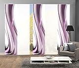 Home Fashion 95348 | 5er-Set Schiebegardinen ONDA | blickdichter Dekostoff & transparenter Halborganza | 5x jeweils 245x60 cm | Farbe: (beere)