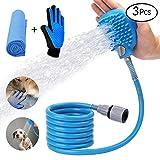 YAMI Haustier Dusche Sprayer, Hunde Katze Haustier-badewerkzeug mit Linkem Bürsten Handschuh und Handtuch als Geschenke, für Den Innen- und Außenbereich