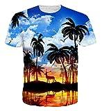 Goodstoworld 3D Aloha Hawaii Palme Print T Shirt Herren Damen Sommer Lustige Beiläufige Kurzarm Aufdruck T-Shirts Tee Top XXL