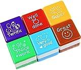 EJY 6 Pcs School Teacher Self Inking Praise Stamps Cartoon Kids Children Play Stamp Toys