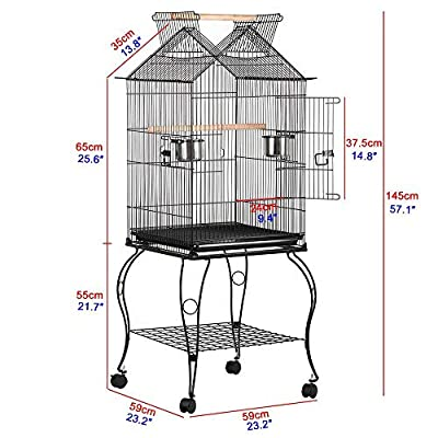 Yaheetech Large Metal Parrot Aviary Bird Open Top Cage For Budgerigars Conures Cockatiels Caiques Lovebirds with Wheels Perch Slide-Out Tray Pet Supply 59 x 59 x 145 cm (LxWxH) from Yaheetech