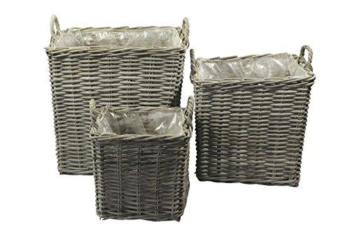 Kubu Weidenkörbe mit Folie & Henkel - 3er Set - Sofort EInsatzbereit - Pflanzkörbe Weide - Naturbelassen & Handgeflochten - Indoor & Outdoor - Gartenkörbe Korbgeflecht - Übertöpfe für Garten / Pflanzgefäße / Deko Körbe zum Bepflanzen -