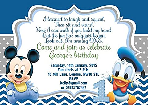 10 x Baby Minnie Mickey Mouse Donald Duck Personalised Children Birthday Party Invitations or Thank you Cards
