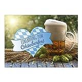 15 Einladungen zum Oktoberfest 2018/Format DIN A6, 2-seitig/Bier und Herz bayrisch/Einladungs-Karten zum Oktober-Fest mit Umschlägen/Garten Party
