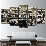 Modulare HD Drucken Artwork moderne Sportwagen Poster Home Decor Wall Art 5 Stück Bilder 1965 Ford Mustang Gemälde auf Leinwand, 40 x 60 40 x 80 40 x 100 cm, Rahmen