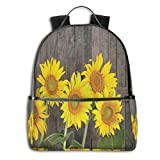 College School Backpacks,Helianthus Sunflowers Against Weathered Aged Fence Summer Garden Photo Print,Casual Hiking Travel Daypack