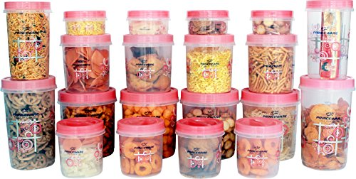 Princeware Twister Combo Plastic Package Container Set, 20-Pieces, Pink