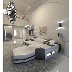 Canapé en cuir Prato l-forme Blanc - Noir Canapé d'angle Super avec éclairage LED - Etant donné que tous nos modèles sont fabriqués selon les désirs de nos clients, le délais de livraison est de 6-10 semaines après le paiement - Ce canapé, vous pouve...