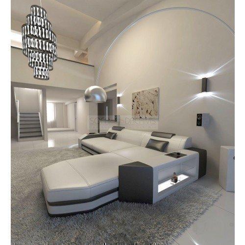 Canapé en cuir Prato l-forme Blanc - Noir Canapé d'angle Super avec éclairage LED