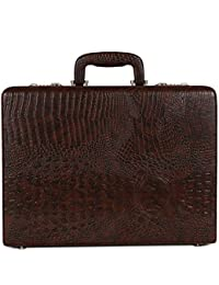 Reo Leather Briefcase Bag Made In Faux Leather With File Pocket Feature Color Brown