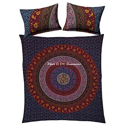 DK Homewares Dekorative Ethnische Baumwolle Bettbezug Set Mit Kissenbezügen Blau Lila Mandala Königin Voll Gedruckt Wohnkultur Floral Trösterbezug Set -